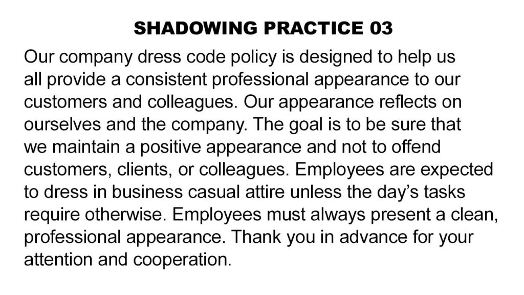 Shadowing-03-Dress-Code-Policy